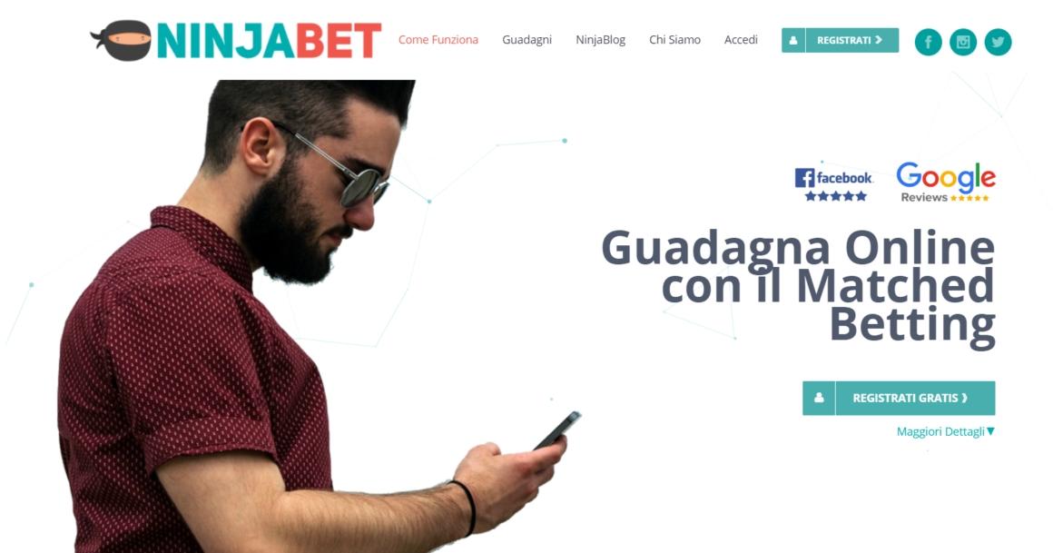 Da 3 anni il 1° sito di Matched Betting in Italia NinjaBet it