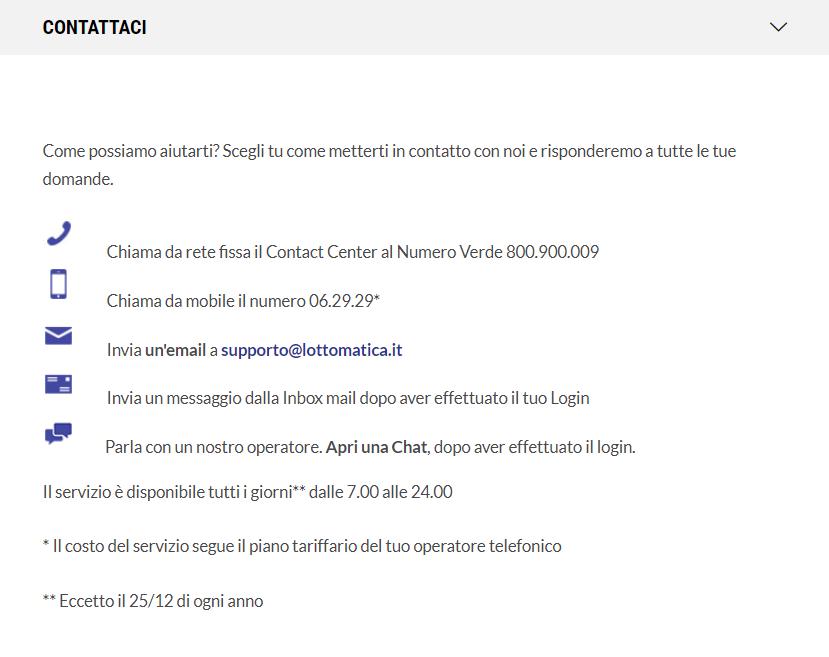Contatti Lottomatica.it