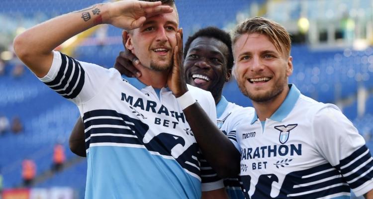 Esultanza Lazio: Milinkovic Savic, Immobile, Caicedo