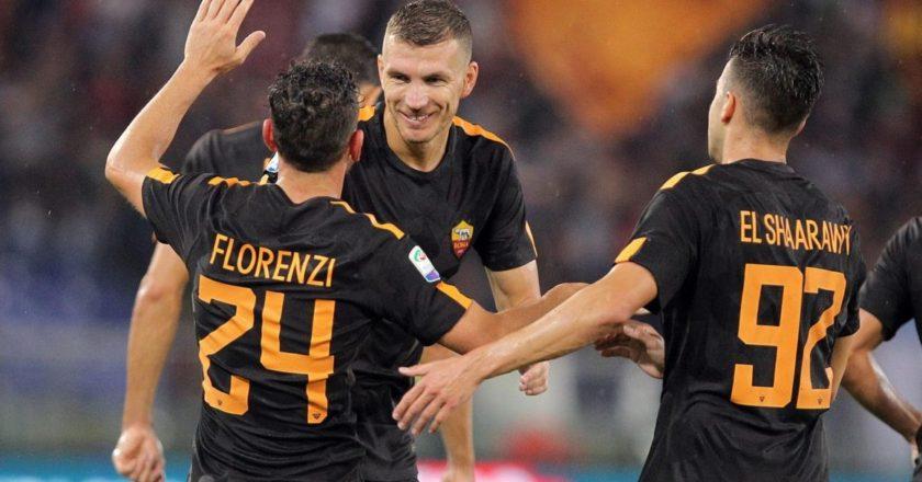 Esultanza Roma: Florenzi, Dzeko, El Shaarawy
