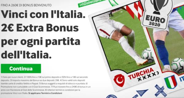 Vinci con l'Italia: 2€ Extra Bonus per ogni partita della Nazionale [Fino a 260€ di Bonus Benvenuto]