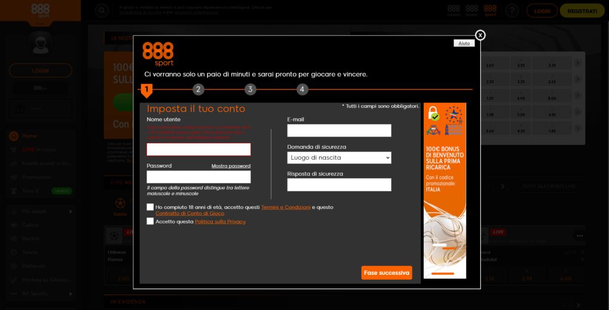 Registrazione 888
