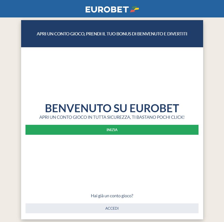 Registrazione Eurobet