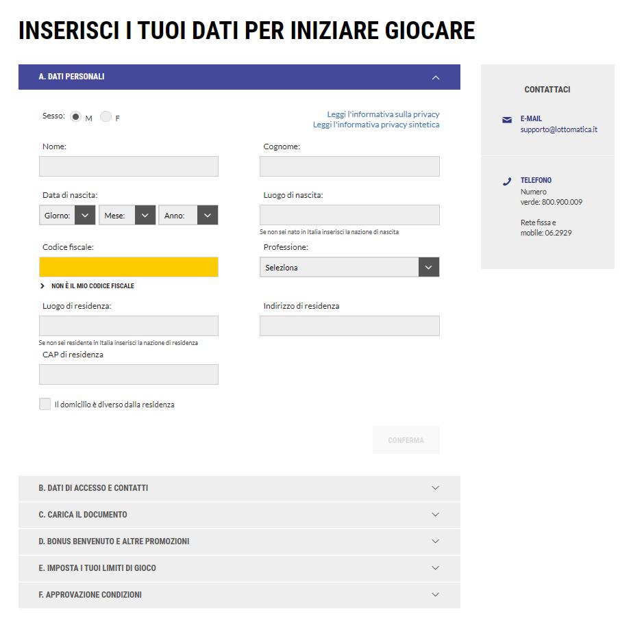 Registrazione Lottomatica.it
