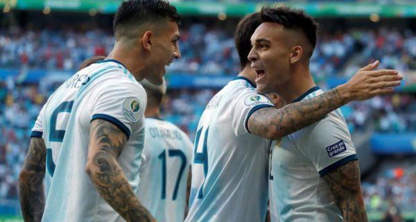 esultanza Lautaro Martinez, attaccante Argentina